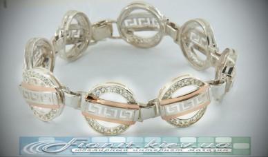 Серебряный браслет с золотыми напайками В151