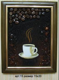 Картина(панно) из янтаря Чашка кофе 15