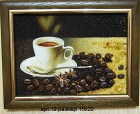 Картина(панно) из янтаря Кофе 19