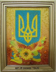 Картина(панно) из янтаря Герб Украины 26