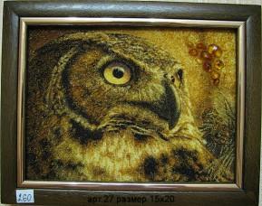 Картина(панно) из янтаря Сова 27