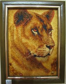 Картина(панно) из янтаря Львица 32