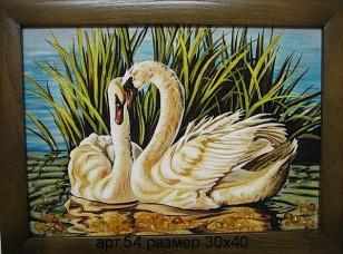 Картина(панно) Лебеди из янтаря 54