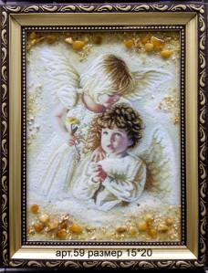 Картина(панно) из янтаря Два ангела 59